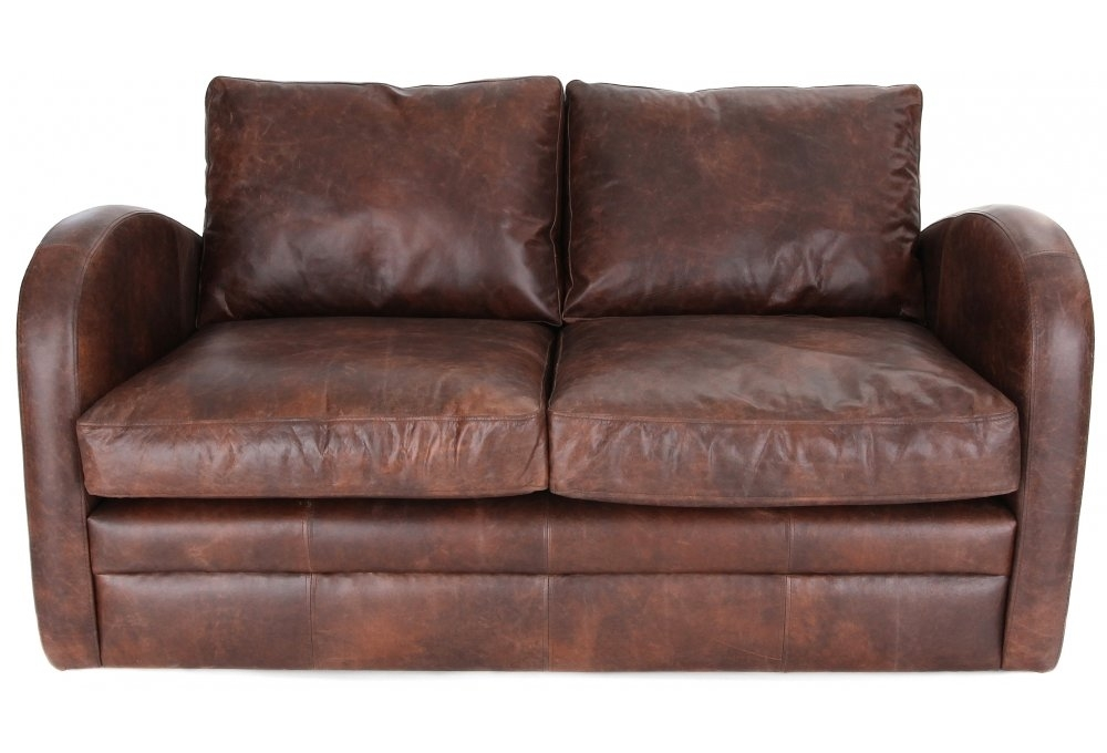 Camden Vintage Leather Small 2 Seater Sofa From Old Boot
