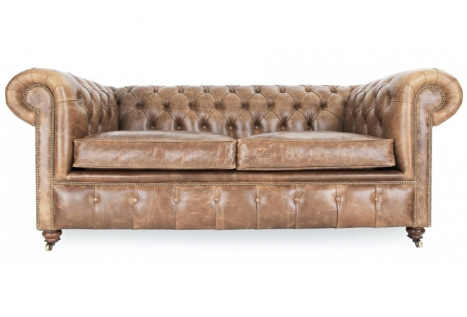 Historian Vintage Leather 2 Seater Chesterfield From Old