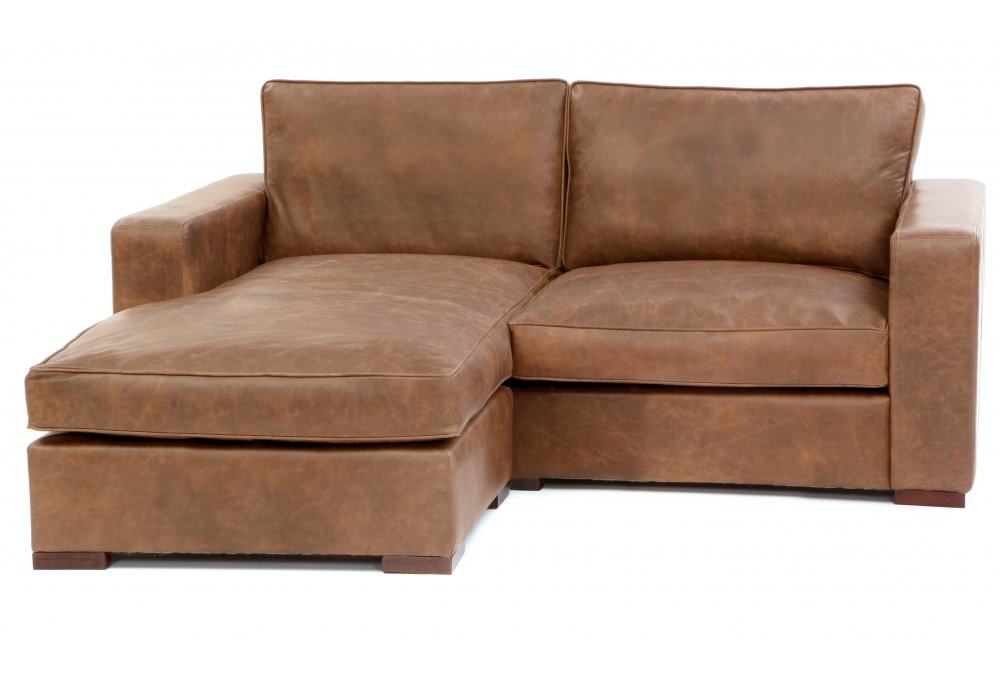 Battersea Chaise End Compact Leather Corner Sofa From Old