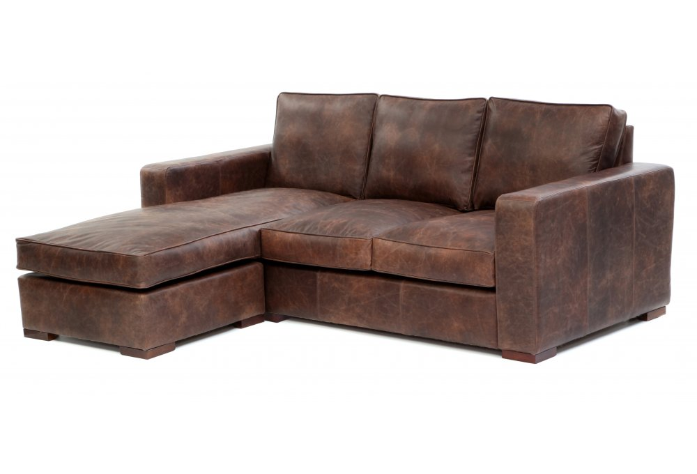 Battersea chaise end medium leather corner sofa from old for Barcelona chaise corner sofa