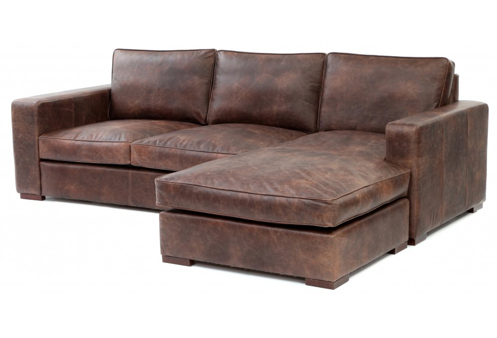 Battersea Chaise End Grande Vintage Leather Corner Sofa From Old Boot