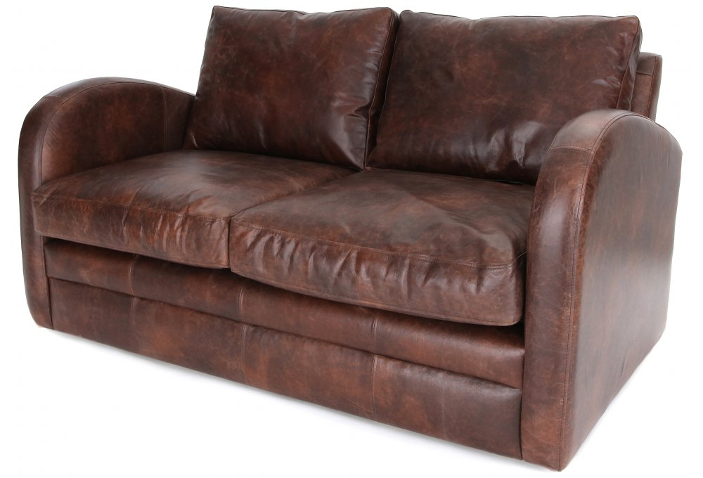 Vintage Leather 2 Seat Sofa Bed