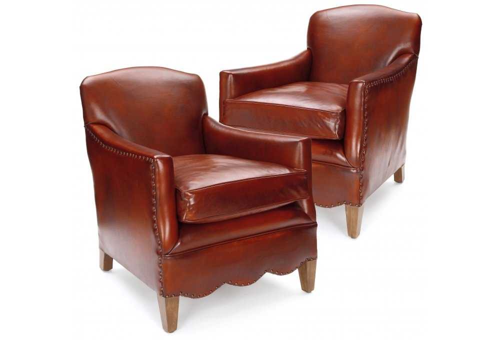 Daisy Pair Of Original Leather Club Chairs From Old Boot Sofas