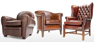 Leather Club And Wingback Chairs