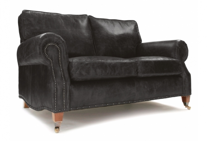 EXPRESS Hepburn 2 Seat Sofa in Hobnail Graphite Leather