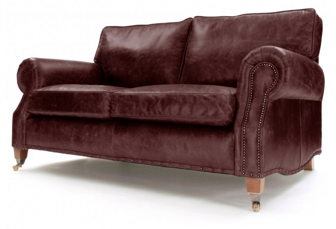 EXPRESS Hepburn 3 Seat Sofa in Hobnail Conker Leather