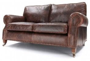 EXPRESS Hepburn 3 Seat Sofa in Vintage Brown Leather