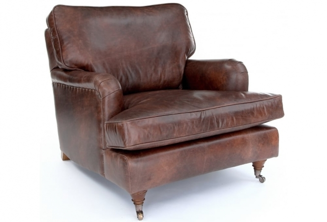 EXPRESS Howard Leather Chair in Vintage Brown Leather