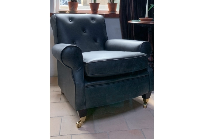 Florence Armchair in Vintage Black Leather