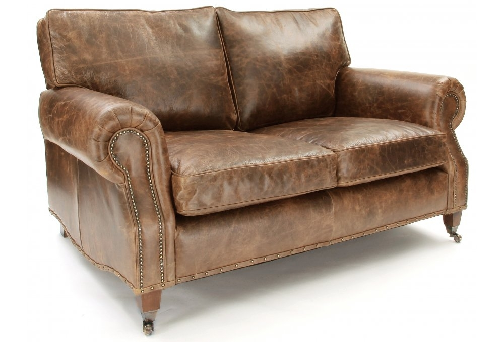 Hepburn Shabby Chic Vintage Leather Small 2 Seater Sofa