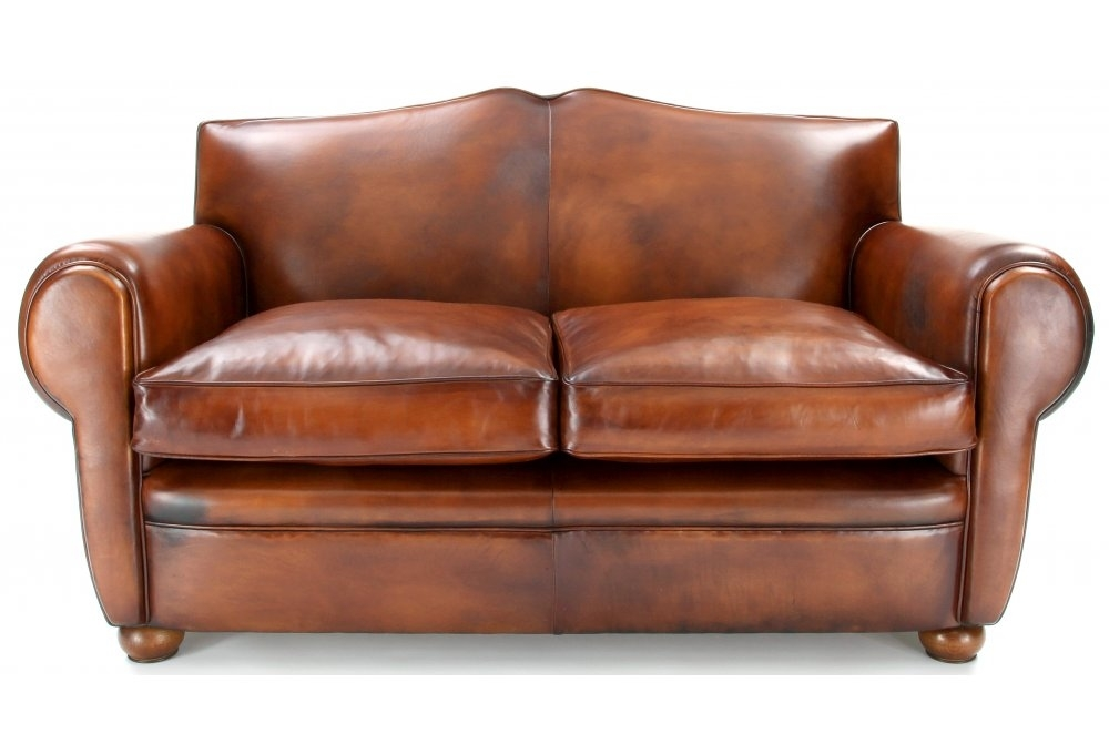 Old Lace Original Leather Small 2 Seater Sofa From Old