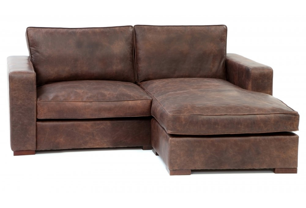 Battersea Chaise End Compact Leather Corner Sofa from Old Boot Sofas