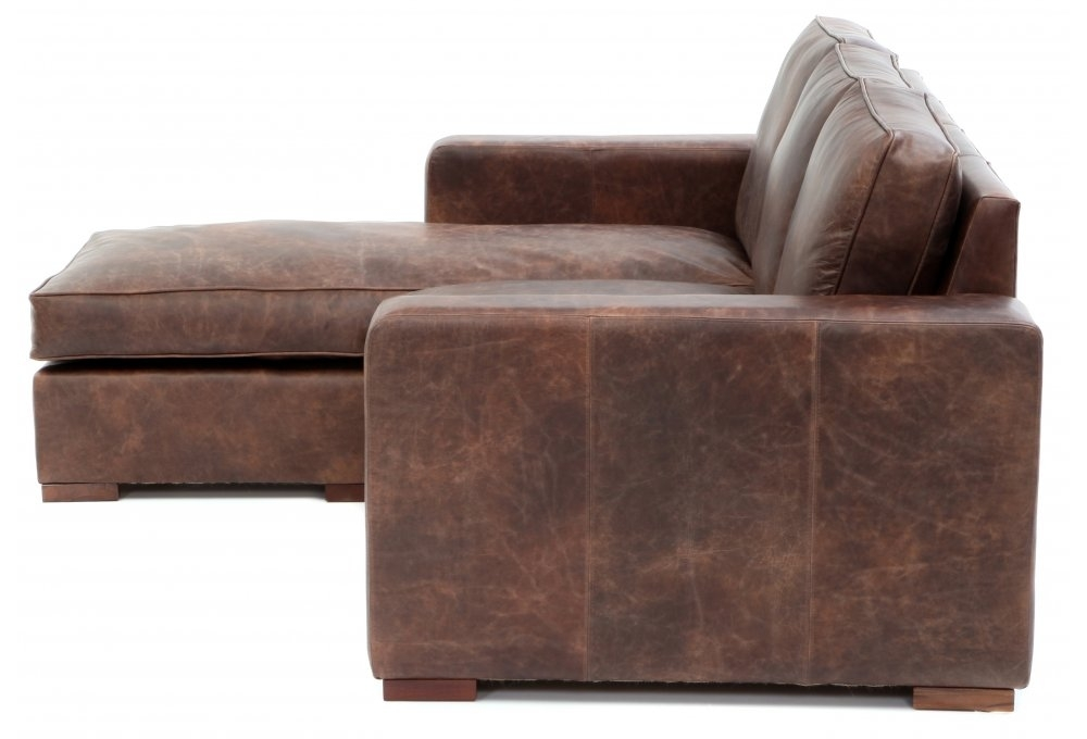 Battersea chaise end medium leather corner sofa from old for Chaise end sofa