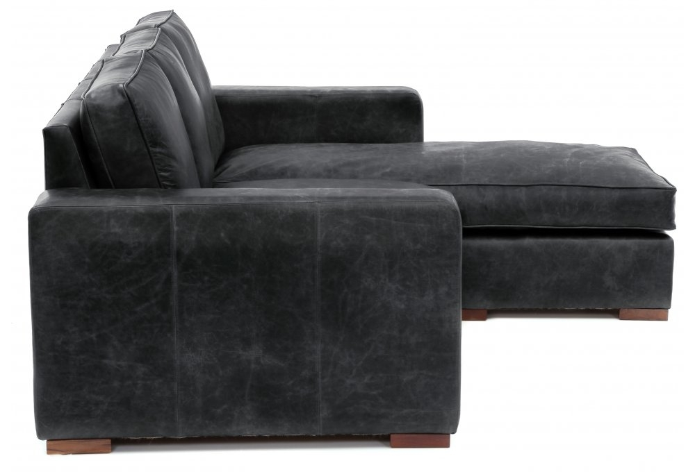 Battersea chaise end medium leather corner sofa from old for Chaise end sofa bed