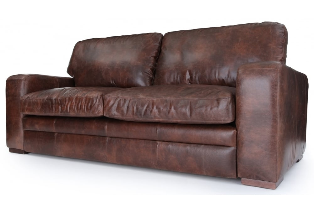 Urbanite Vintage Leather Large 4 Seater Sofa From Old