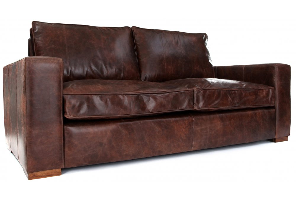 Battersea Vintage Leather 2 Seater Sofa Bed From Old
