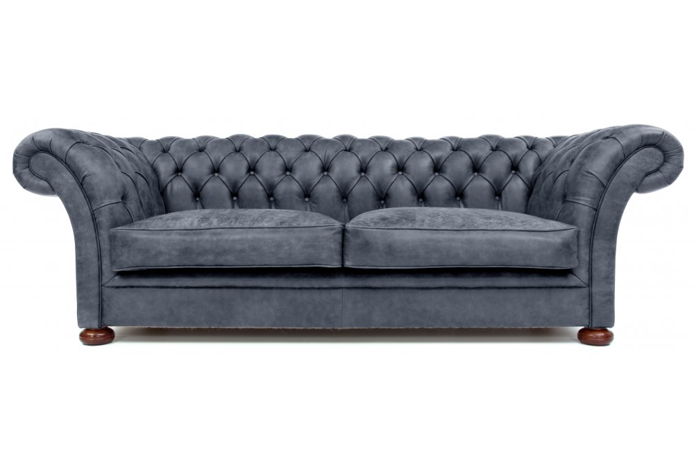 The Scholar 4 Seat Rustic Leather Chesterfield Sofa Bed