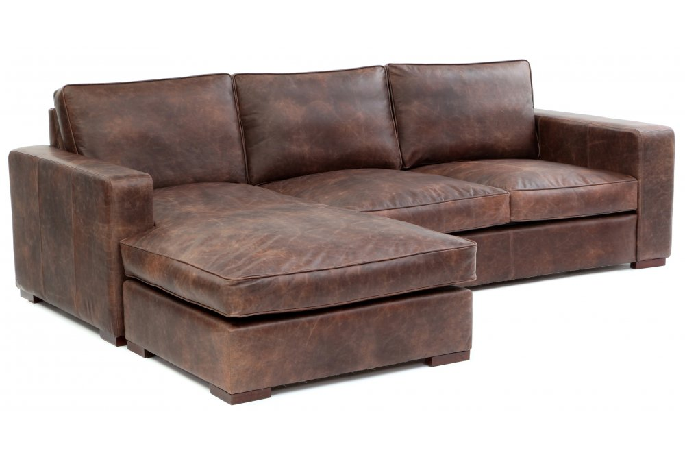 Battersea chaise end grande vintage leather corner sofa for Chaise end sofa