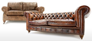 Round Arm Leather Sofas
