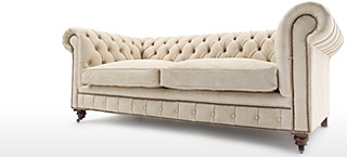 Ivory Leather Chesterfield Sofas