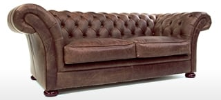 Round Arm Leather Chesterfield Sofas