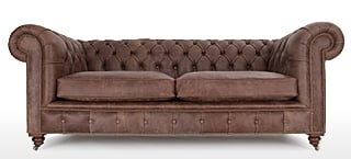 Dark Brown Leather Chesterfields