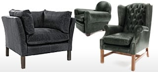 Black Leather Club & Wing Chairs