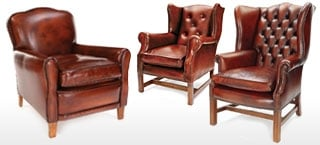 Chestnut Leather Club & Wing Chairs