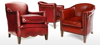 Red Leather Club & Wing Chairs