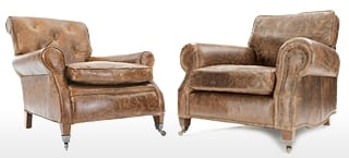 Club & Wing Chairs in Tan Leather