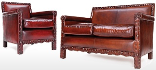 Liberty Antiqued Leather Sofa