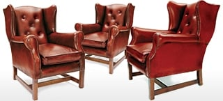 Librarian Leather Wingback Chairs