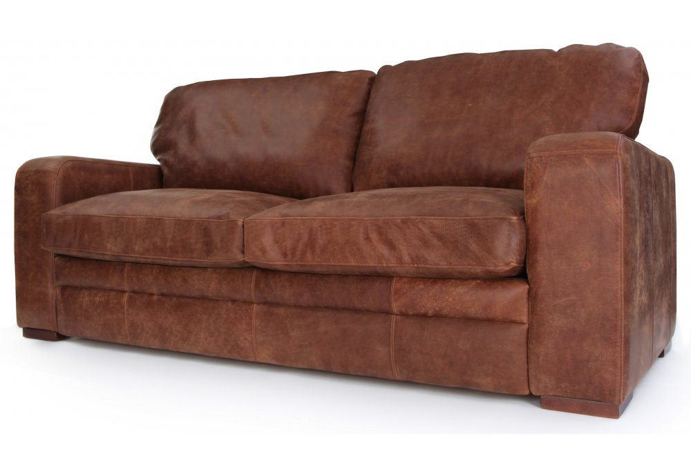 Rustic Leather Large 4 Seater Sofa Bed
